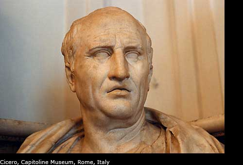 Photos of the statue of Cicero, Rome, Italy